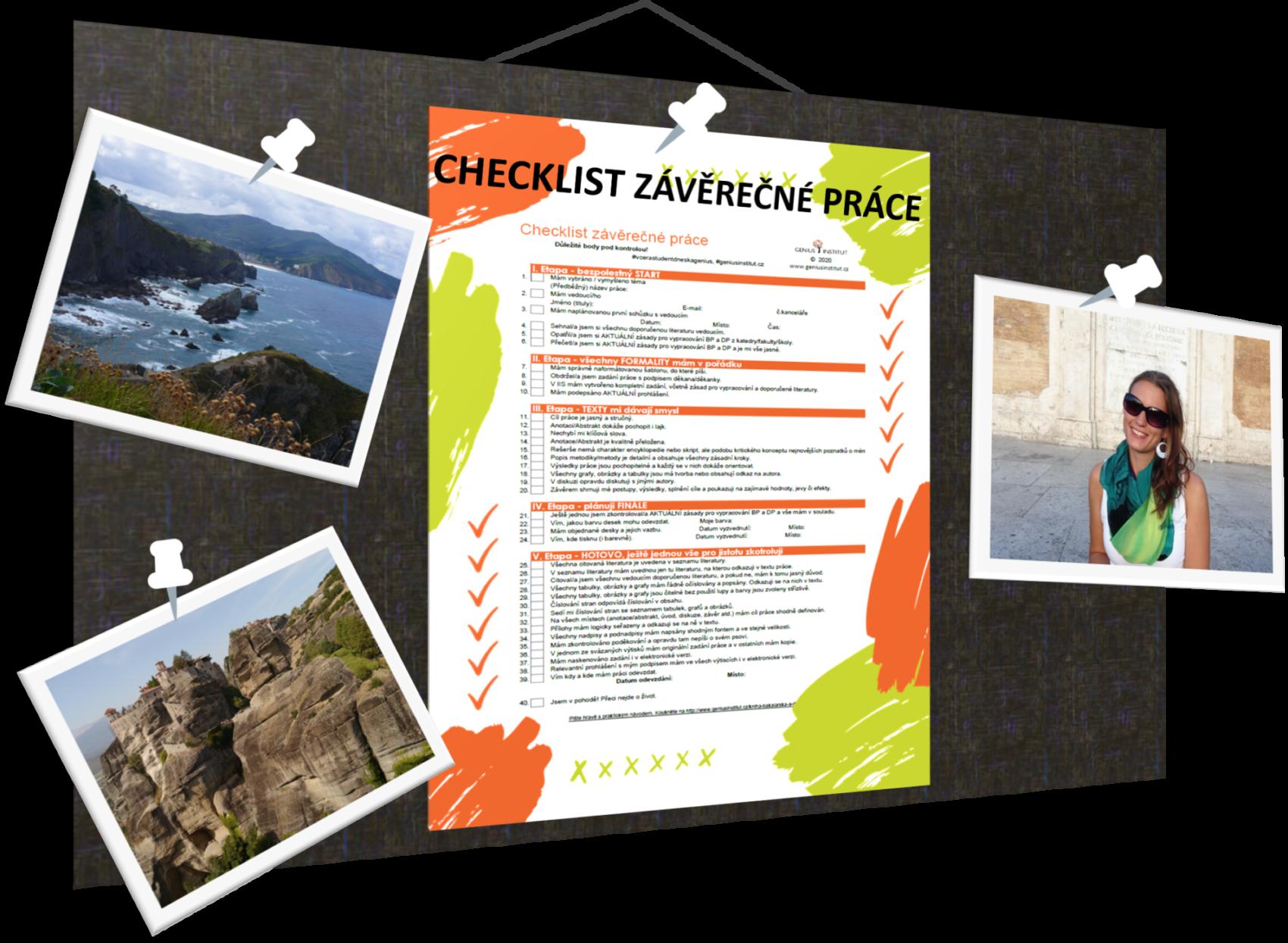 Nástěnka s checklistem závěrečné práce